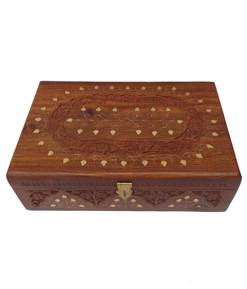 Handicraft Brown Wooden Jewellery Box