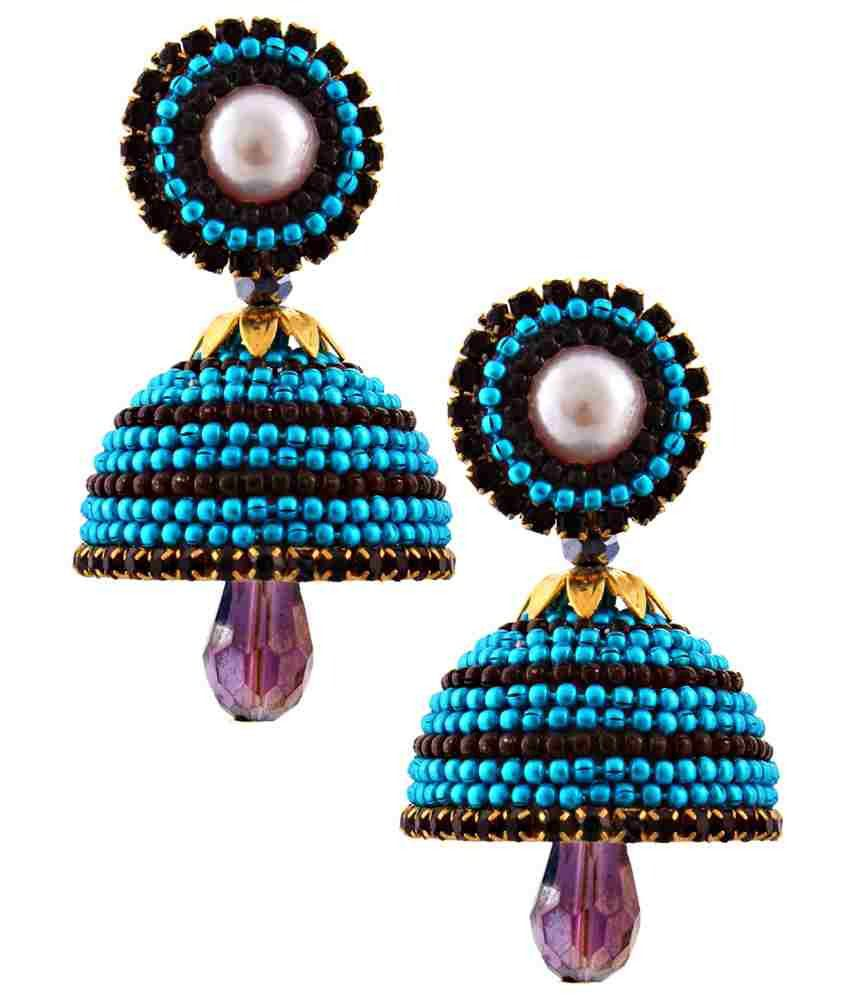 Jaipur Raga Blue Acrylic Jhumki Earrings
