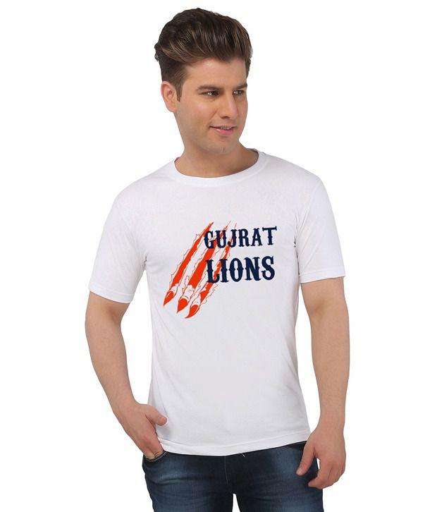 IPL T20 Gujarat Lions Crew Neck T-Shirt - White