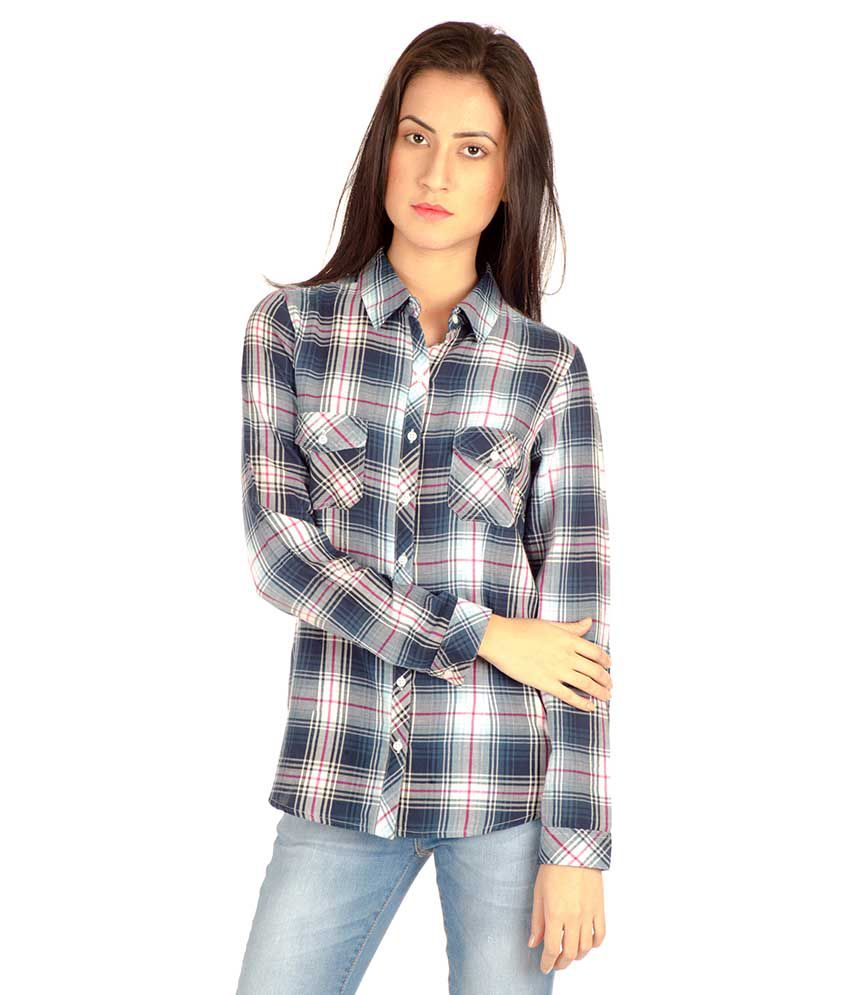 Mist Island Blue Cotton Shirts