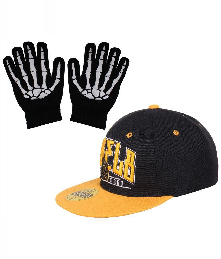 Sushito Combo of Black Polyester Cap with Hand Gloves