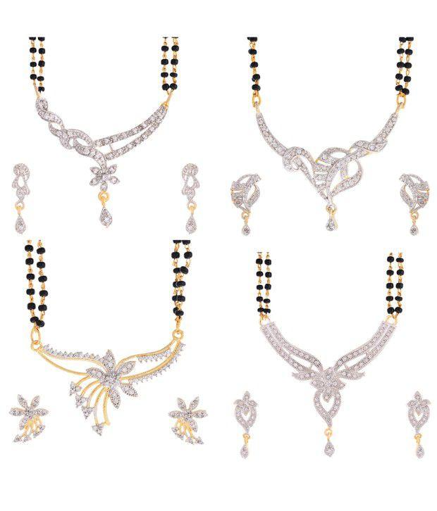 Zeneme Black American Diamonds Alloy Mangalsutra Set - Set of 4