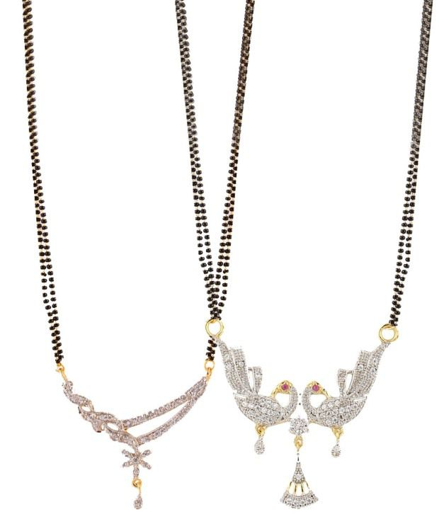Zeneme Black American Diamonds Alloy Mangalsutra Set - Set of 2