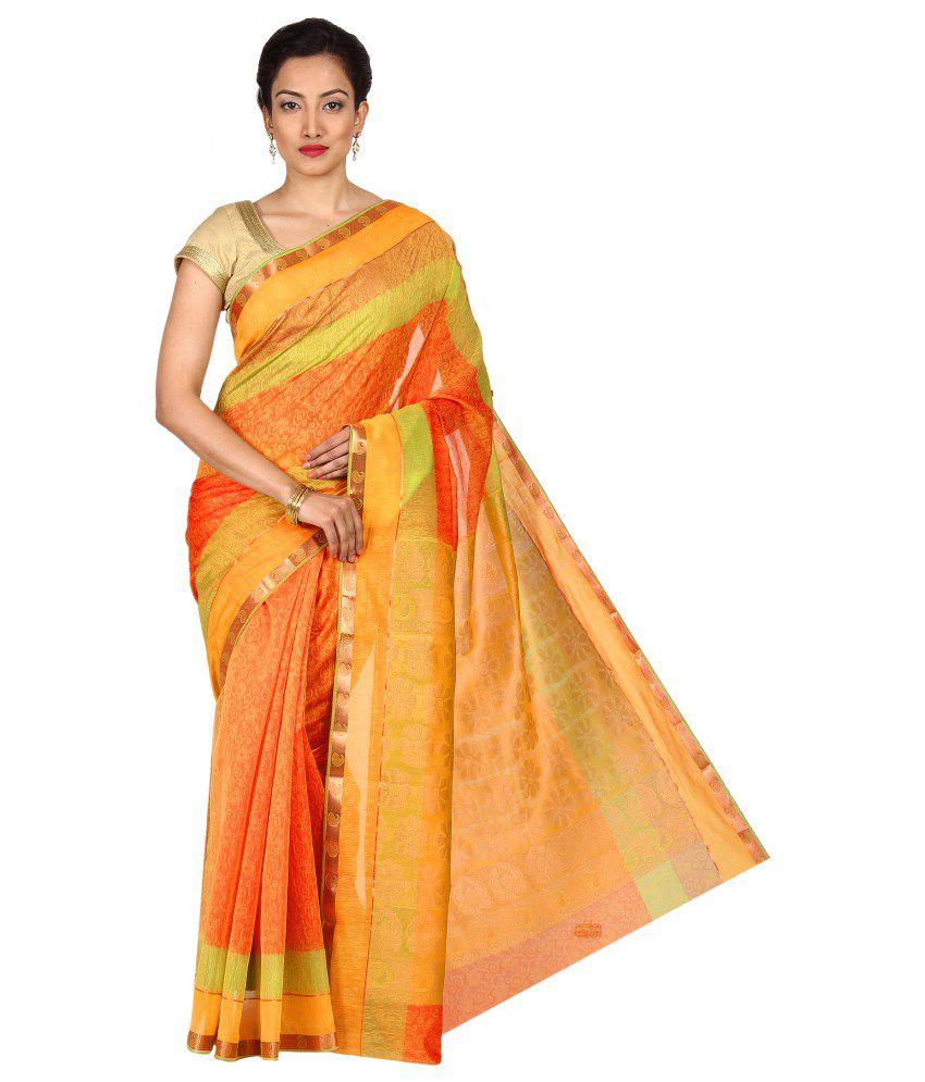 Pratamika Orange Cotton Silk Saree