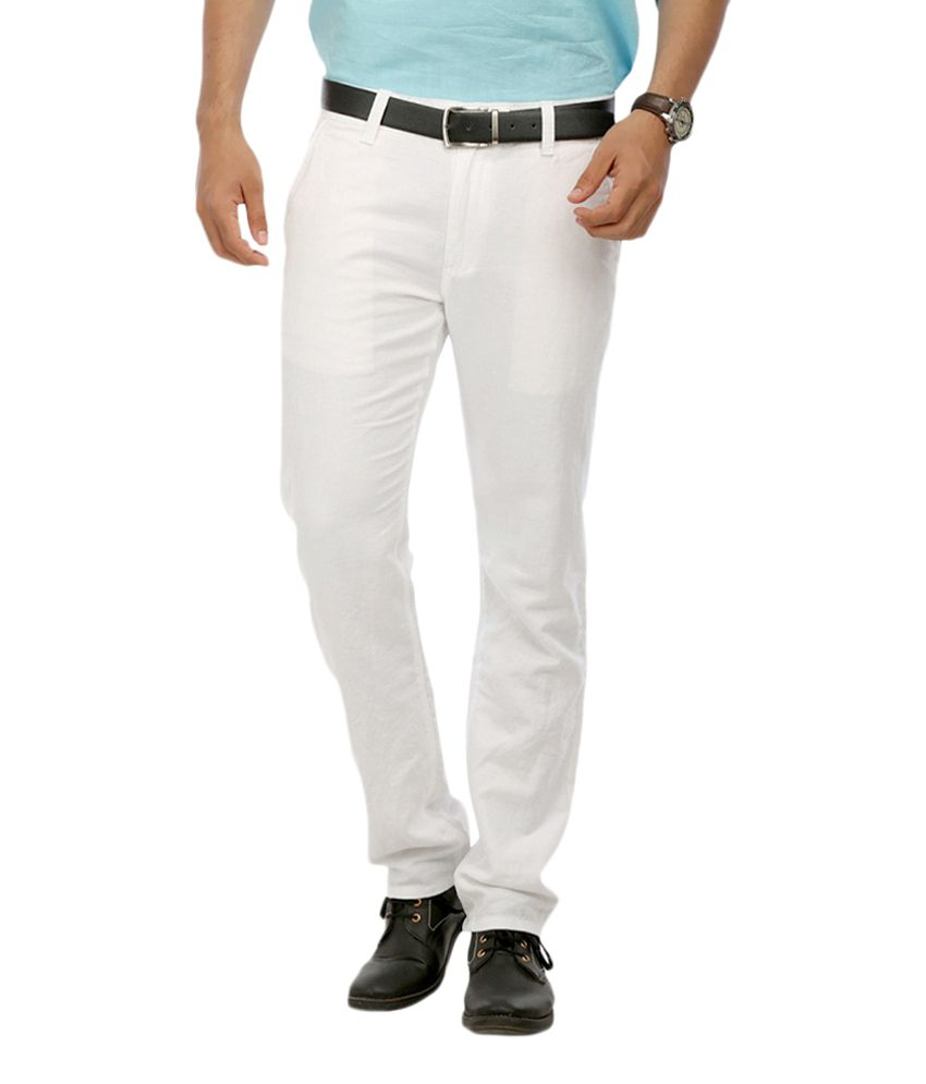 Rich Perk White Slim Fit Flat Trousers