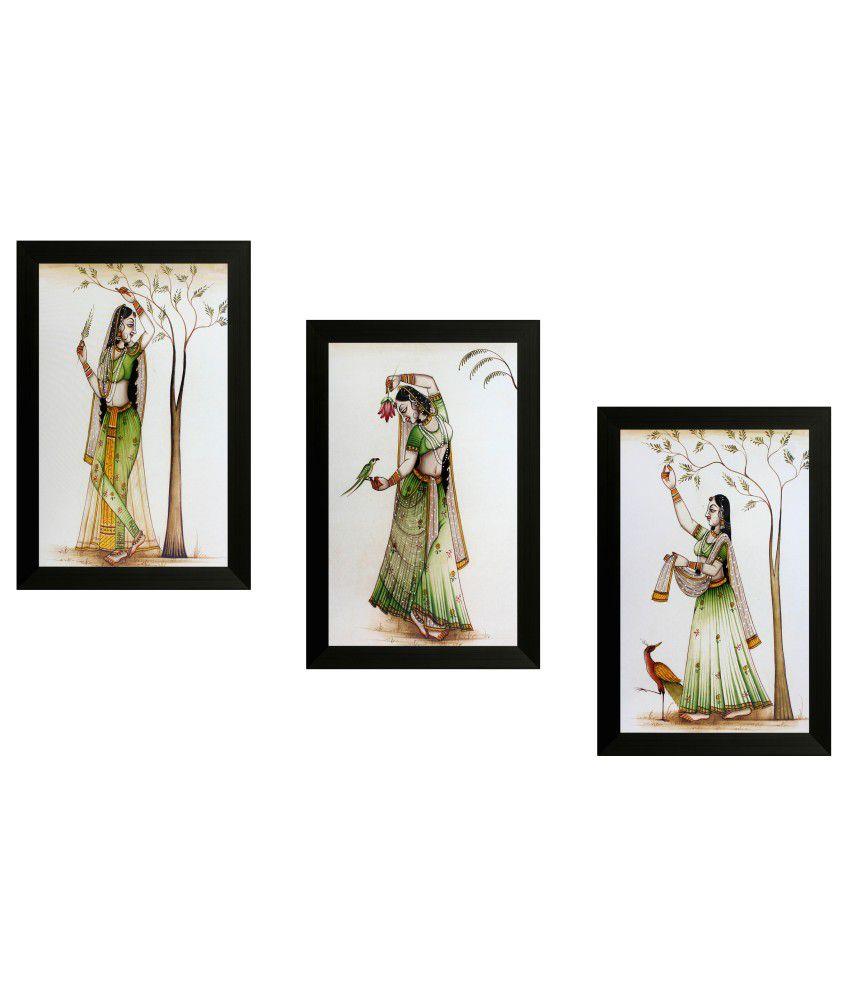 SAF Textured Art Print With Wooden Frame - Set Of 3