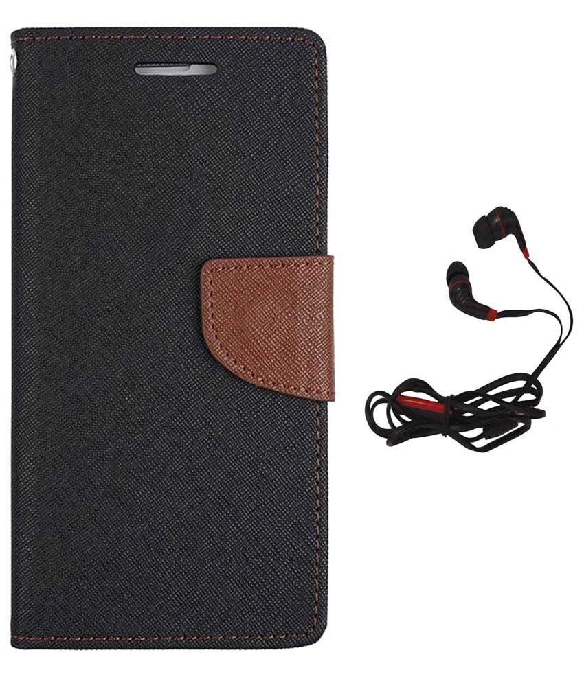 Avzax Flip Cover for Sony Xperia C Black with Earphones