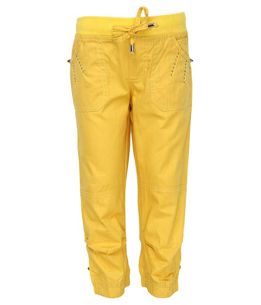 Cool Quotient Yellow Capri For Girls