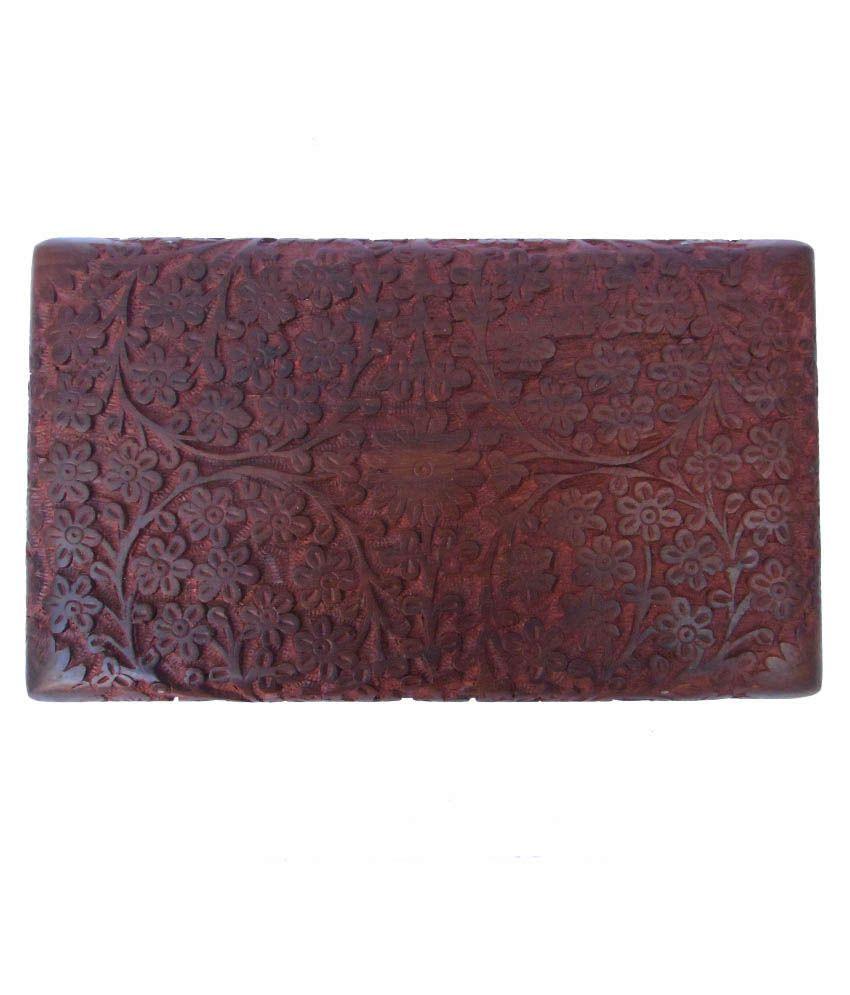 Handicraft Brown Wooden Jewellery Box