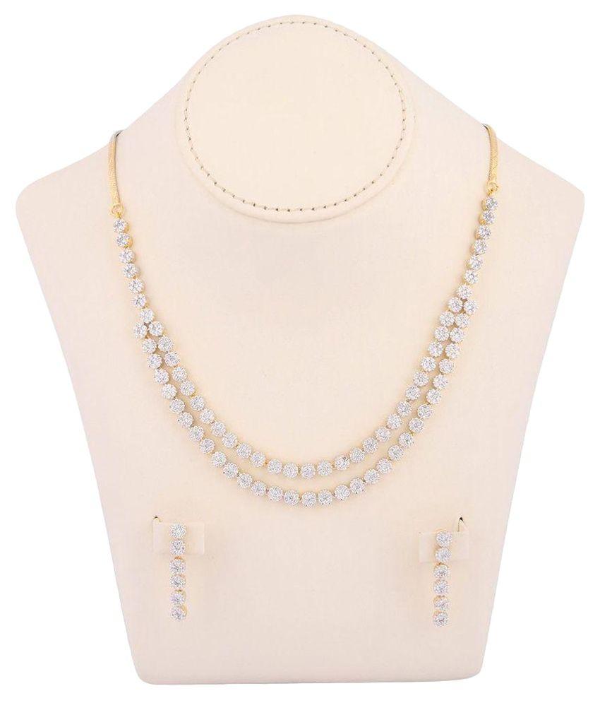 M Gold Golden American Diamond Necklace Set
