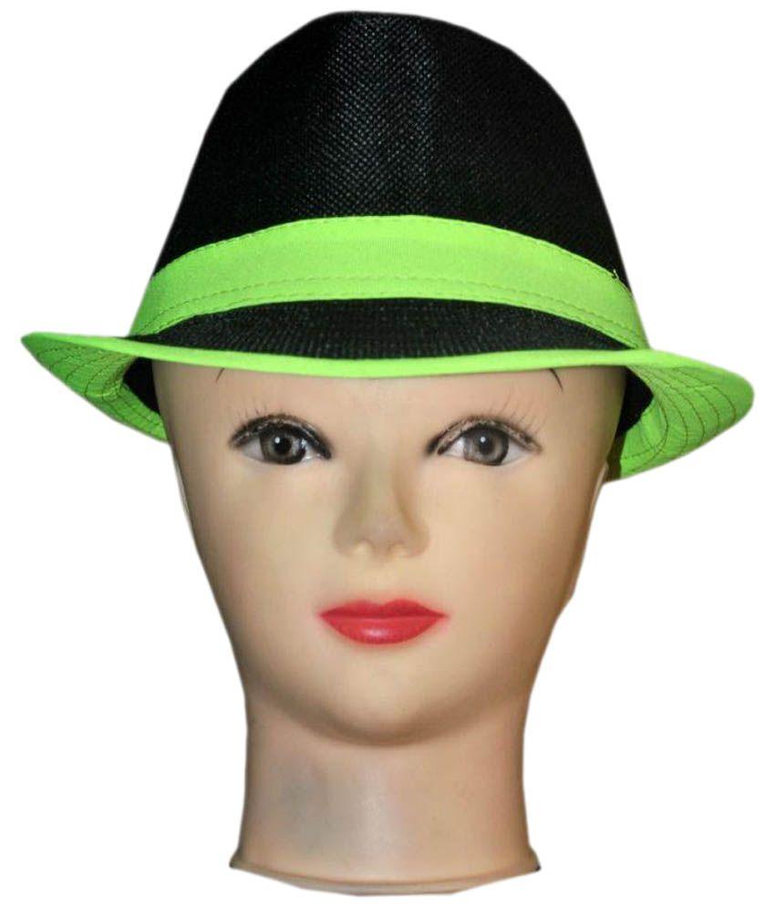 Mantra Black Cotton Fidora Hat for Men