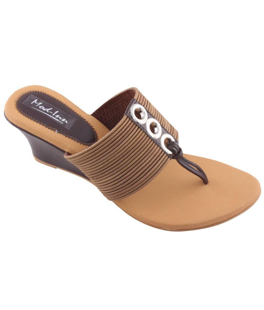 Mod-Inn Brown Wedges Heels