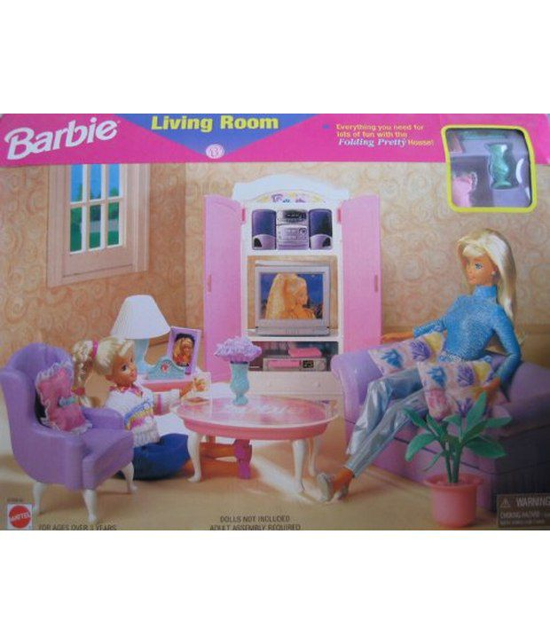Barbie Living Room Playset   Folding Pretty House (1997 Arcotoys, ...