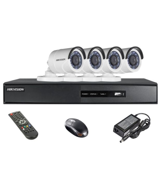 Hikvision DS-7204HQHI-E1 4CH Dvr, 4(DS-2CE16DOT-IR) Bullet Camera (With Mouse, Remote)