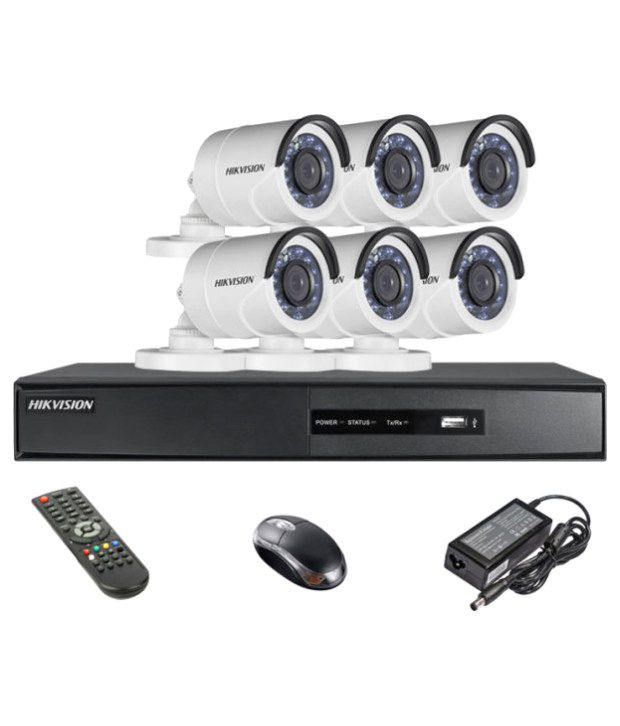 Hikvision-DS-7208HQHI-E1-8CH-Dvr,-6(DS-2CE16DOT-IR)-Bullet-Camera-(With-Remote,Mouse)