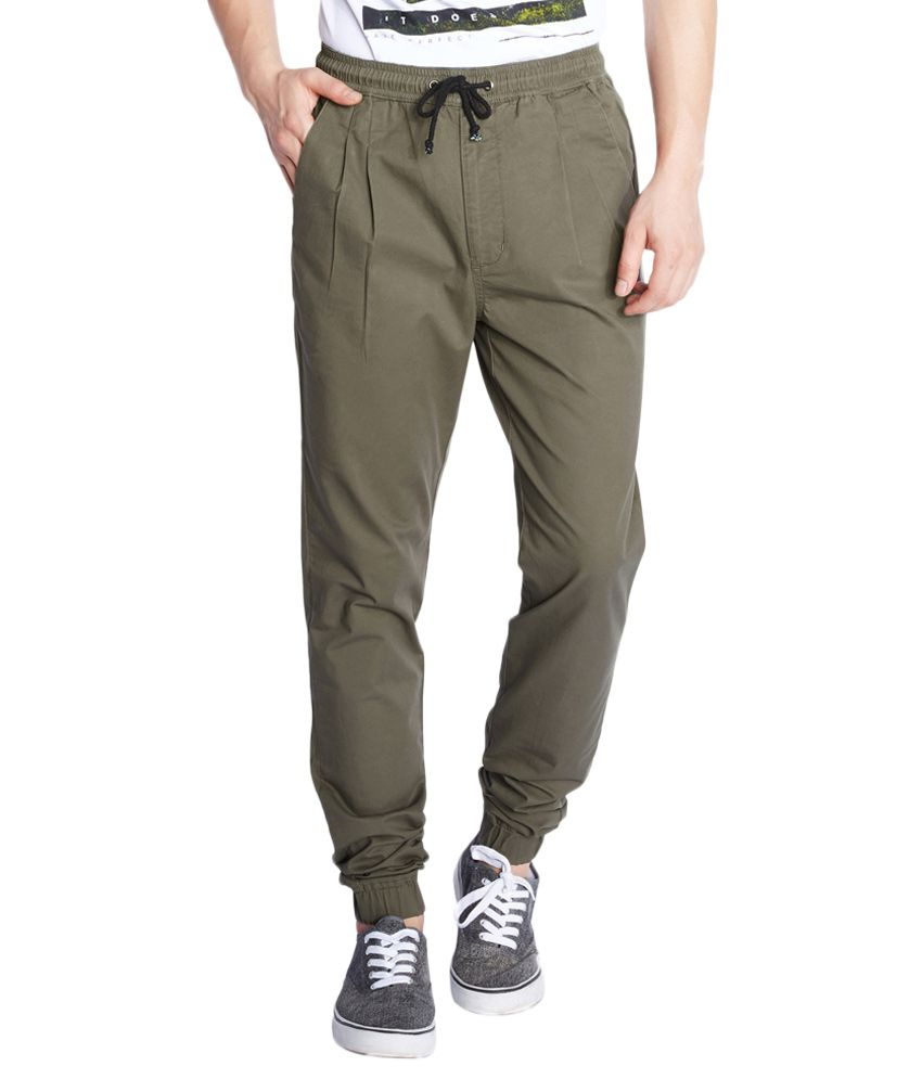 Parx Green Regular Fit Joggers
