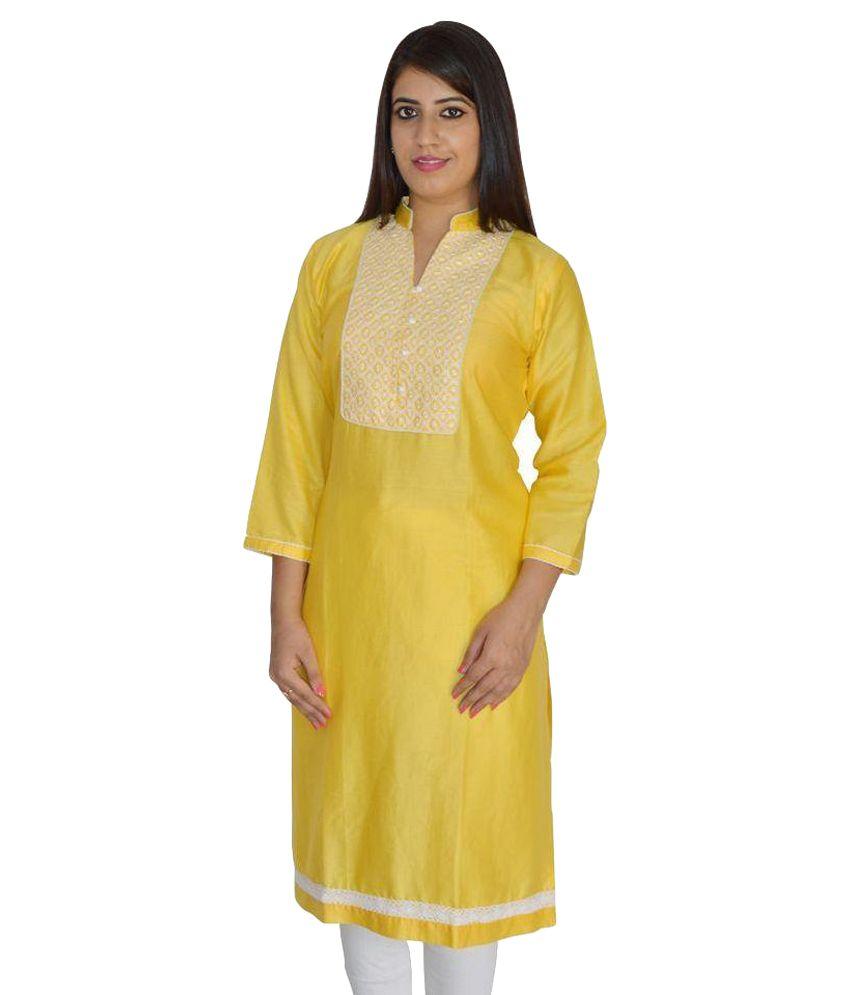 Wera Yellow Cotton Straight Kurti