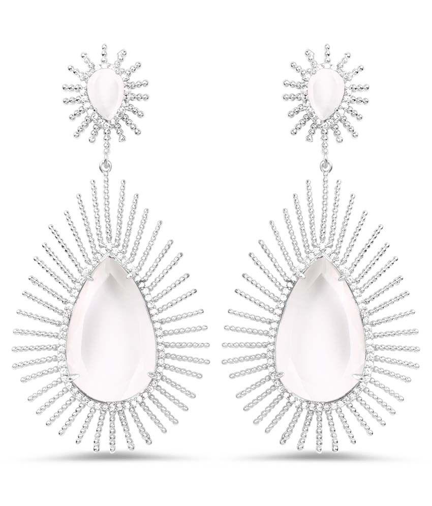 Johareez White Brass Hangings Earrings
