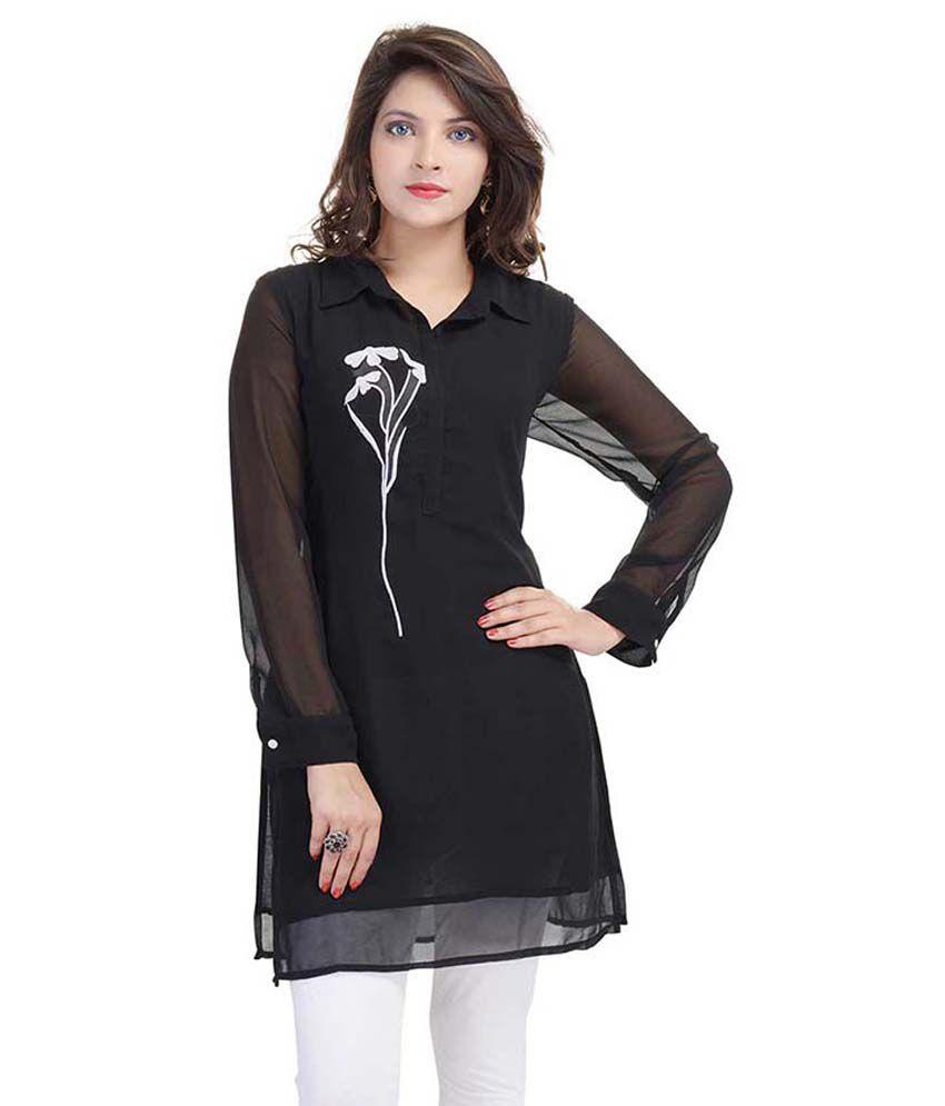 Laxmi Creations Black Georgette Straight Kurti
