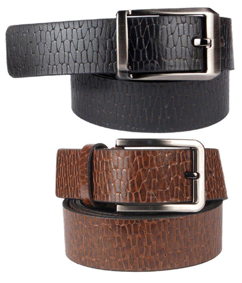 Klaska Multicolour Leather Casual Belt - Set of 2
