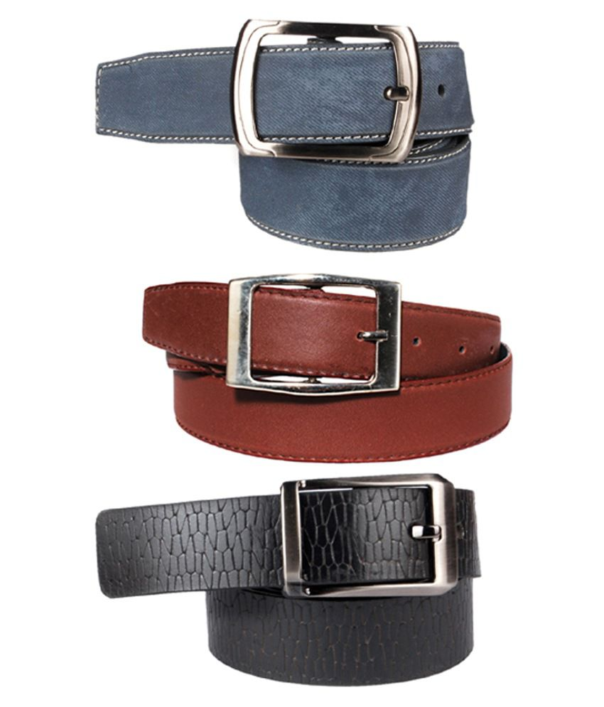 Klaska Multicolour Leather Casual Belt - Set of 3