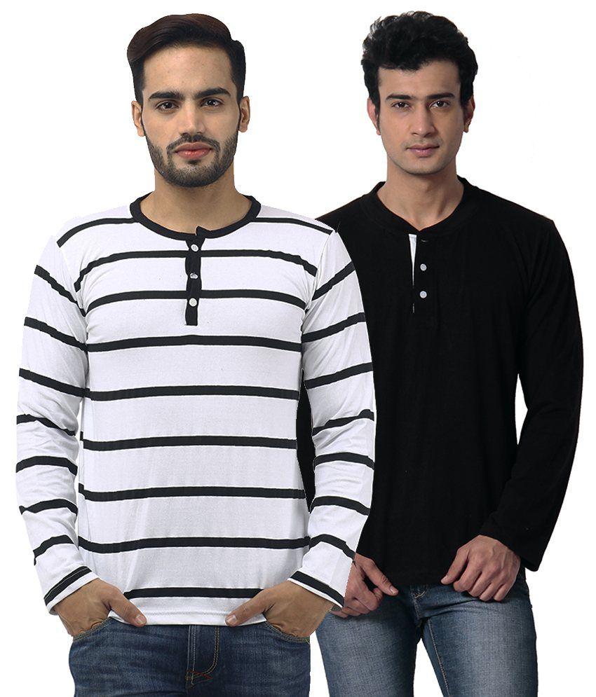 Leana Multi Henley T Shirt Pack of 2