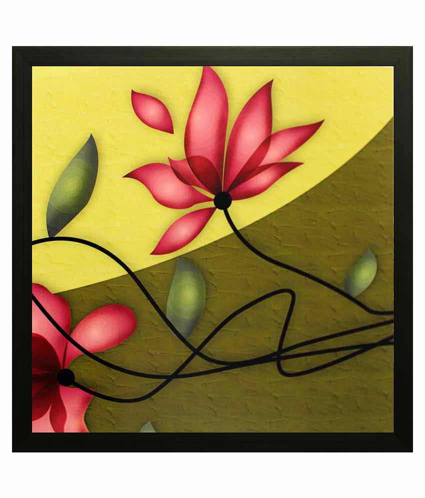 SAF Textured Wooden Floral Painting With Frame
