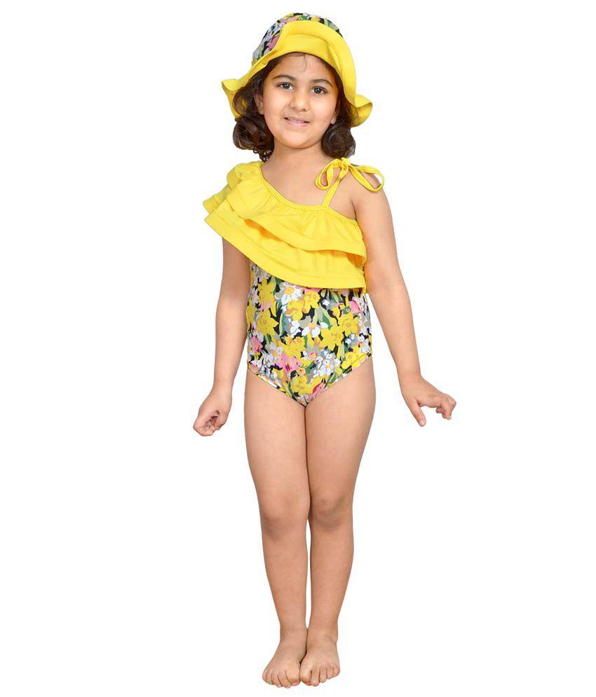 Stylemykidz Asymmetric Neck Swimsuit With Matching Sunhat/ Swimming Costume