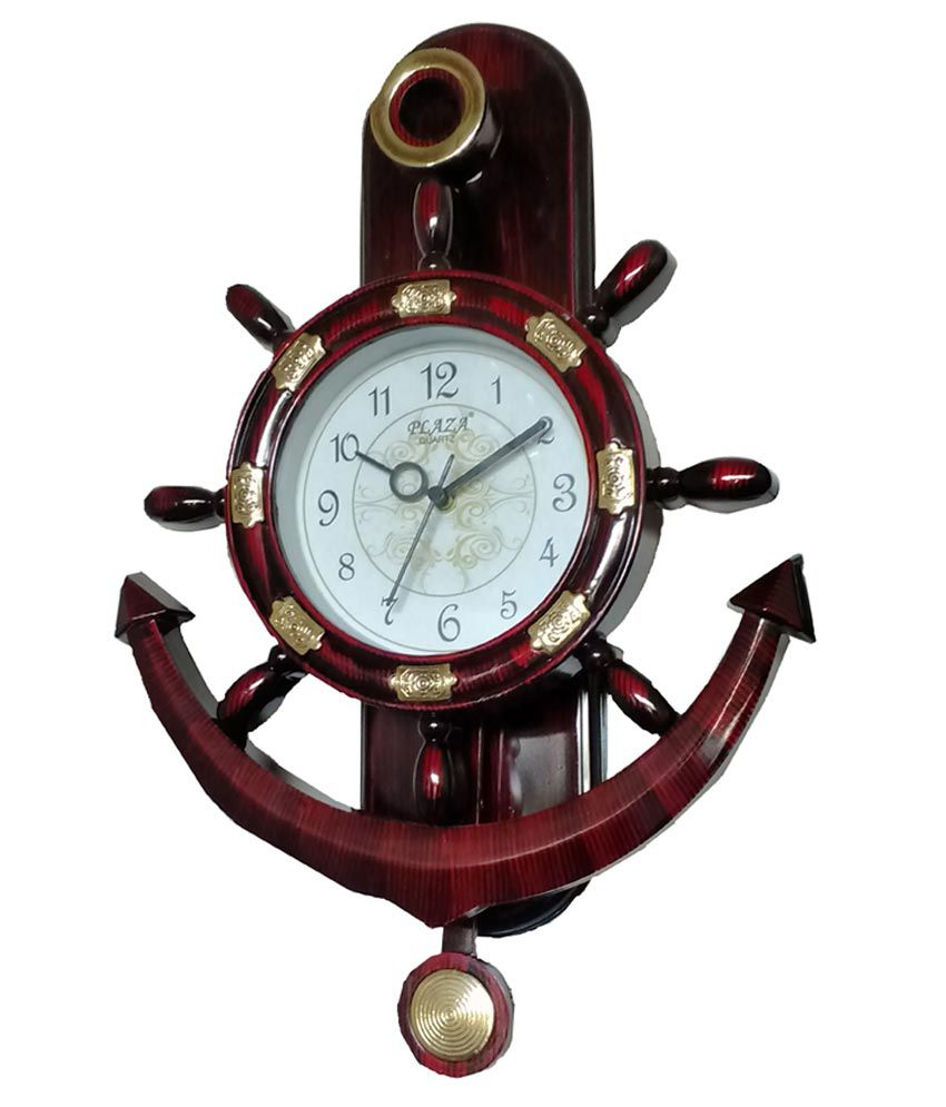 Plaza Brown Blue Pacific Wall Clock