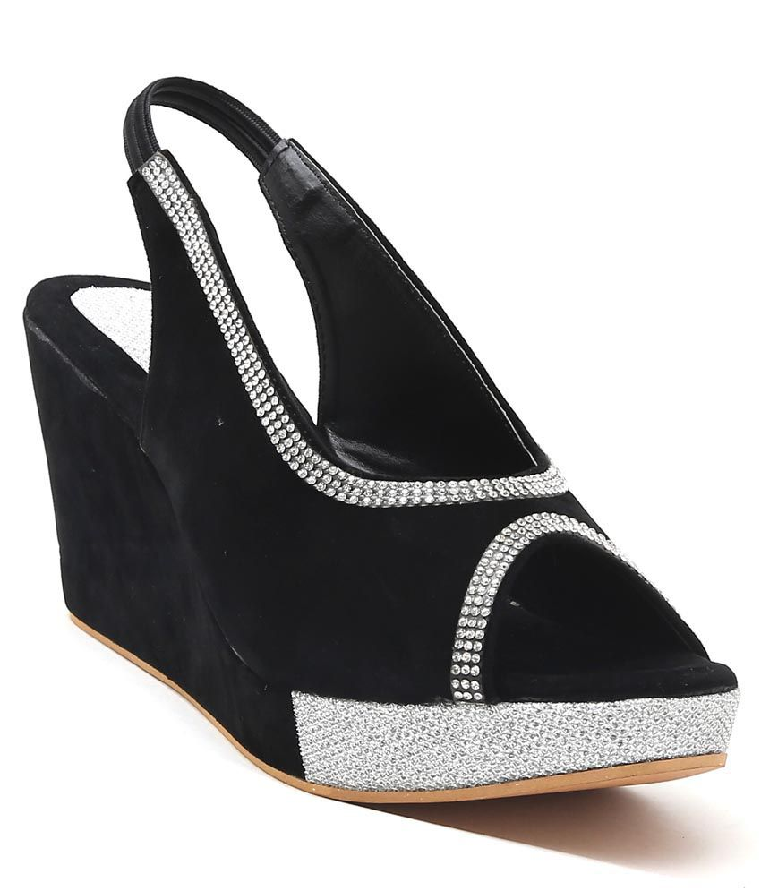 DeziLondon Black Wedges Heels