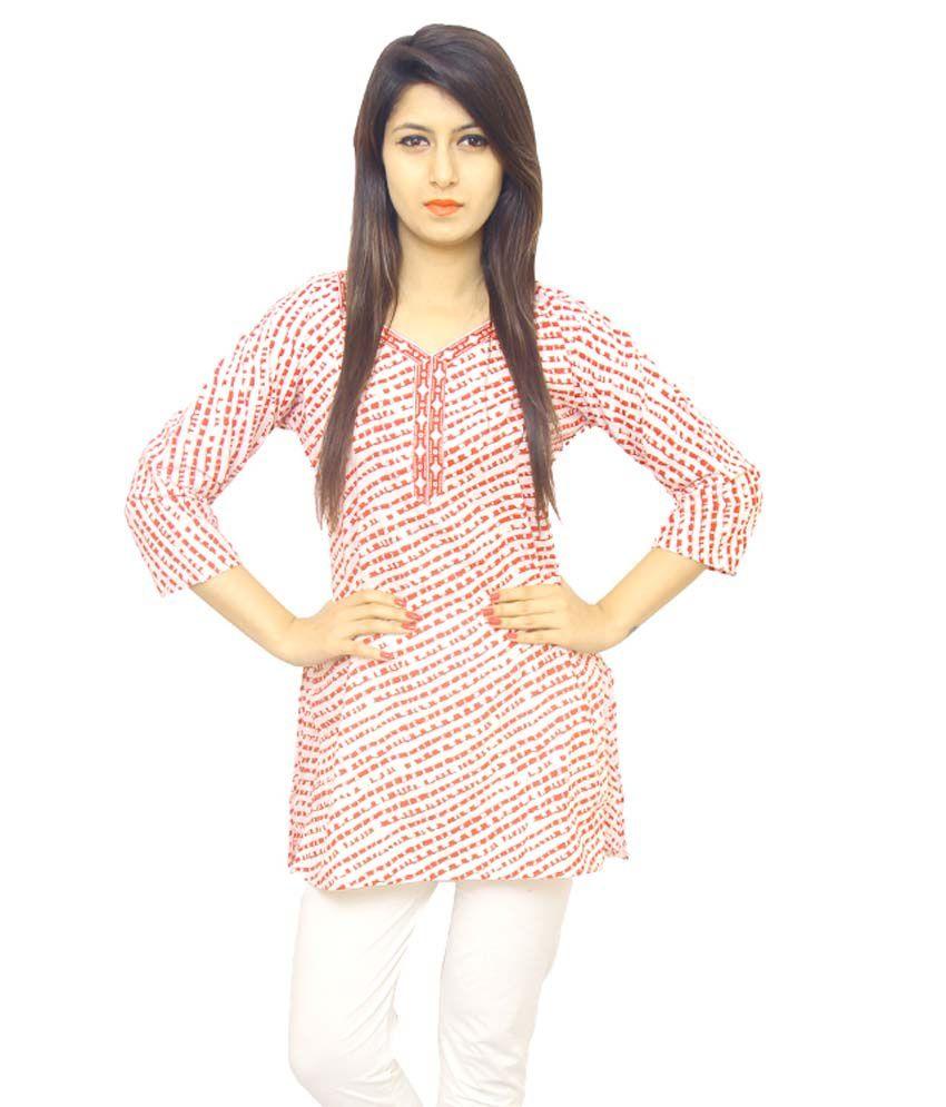 Fateh Enterprises White Cotton Straight Kurti