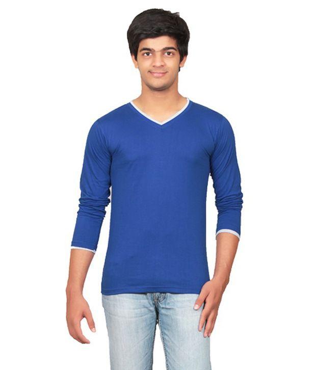 Graceful Blue V-Neck T Shirt