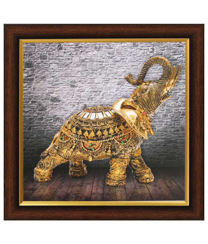SAF Textured Wood Animal Painting with Frame