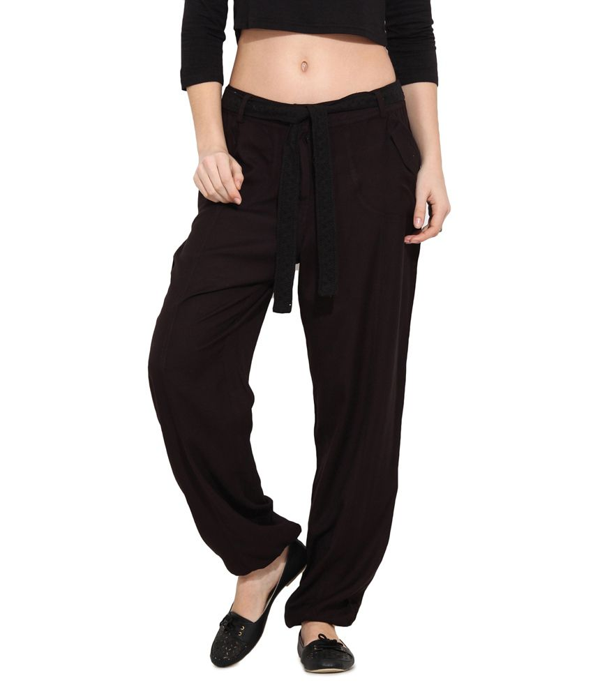 Free & Young Black Viscose Trousers