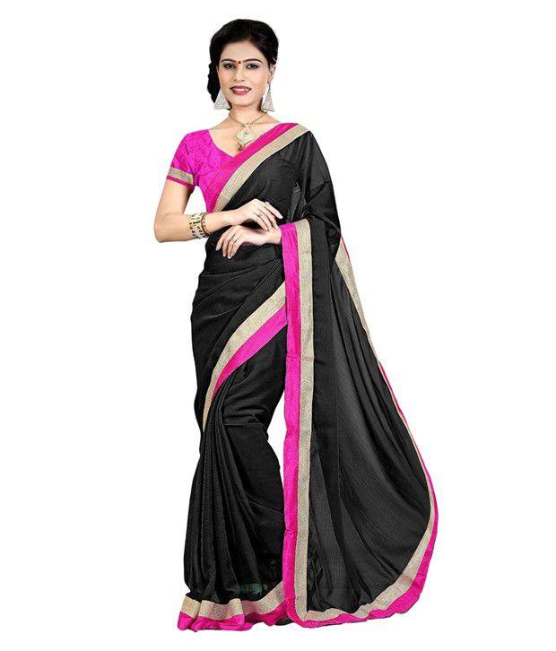 Indian Wear Online Black Chiffon Saree