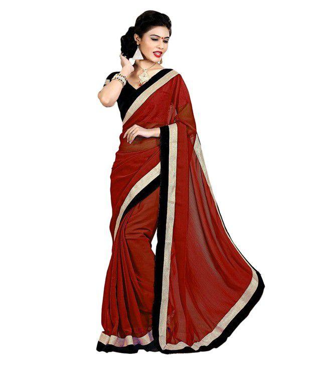 Indian Wear Online Maroon Chiffon Saree