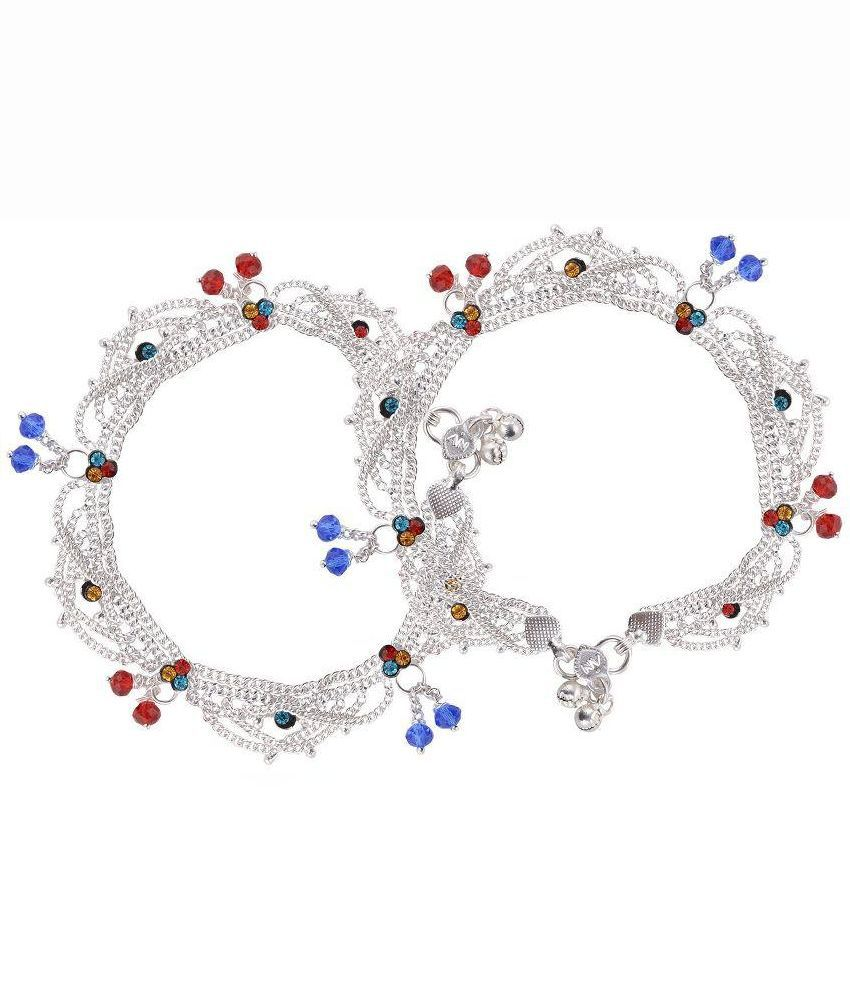 J S Imitation Silver Brass Pair of Anklets