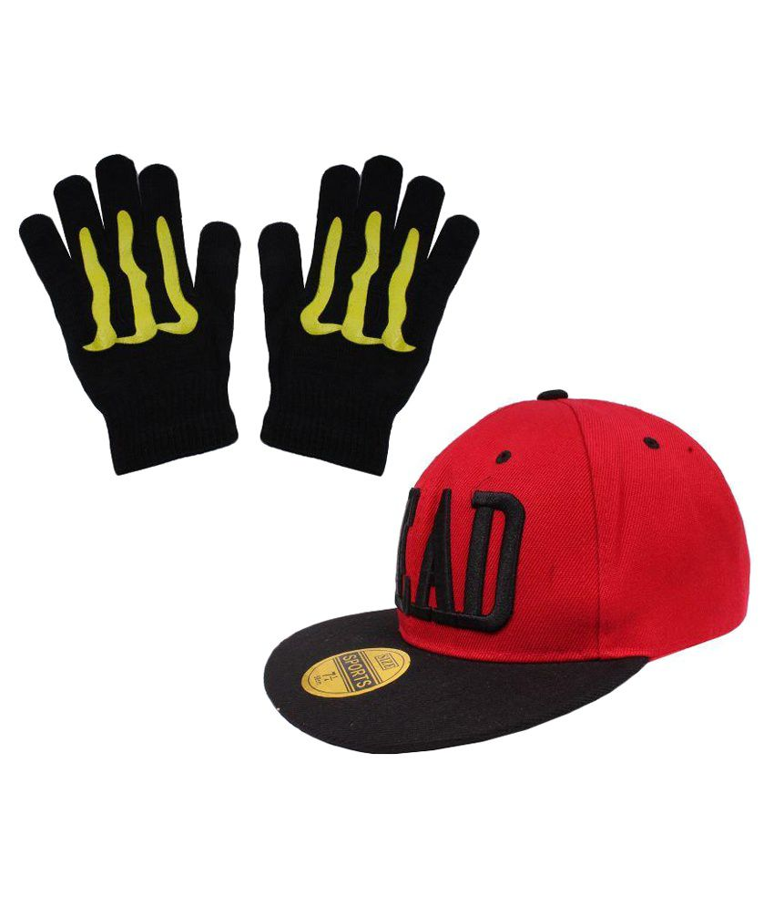Sushito Red Polyester Cap With Hand Gloves For Men