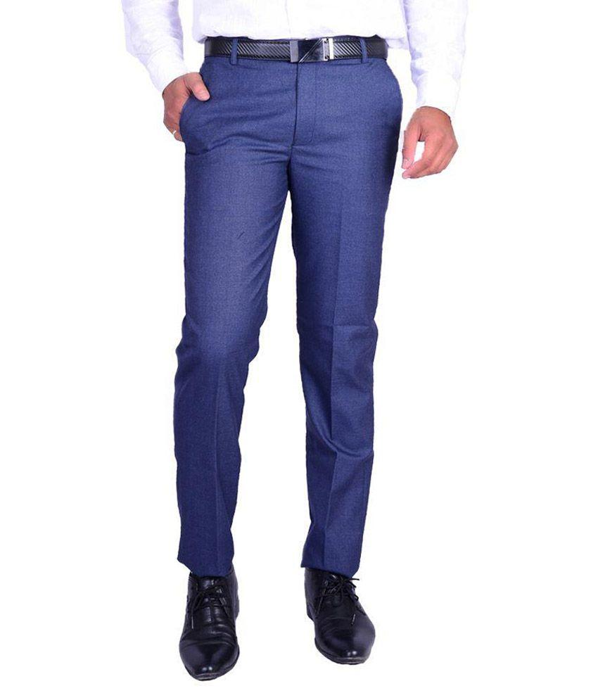Ukies Blue Regular Fit Flat Trousers