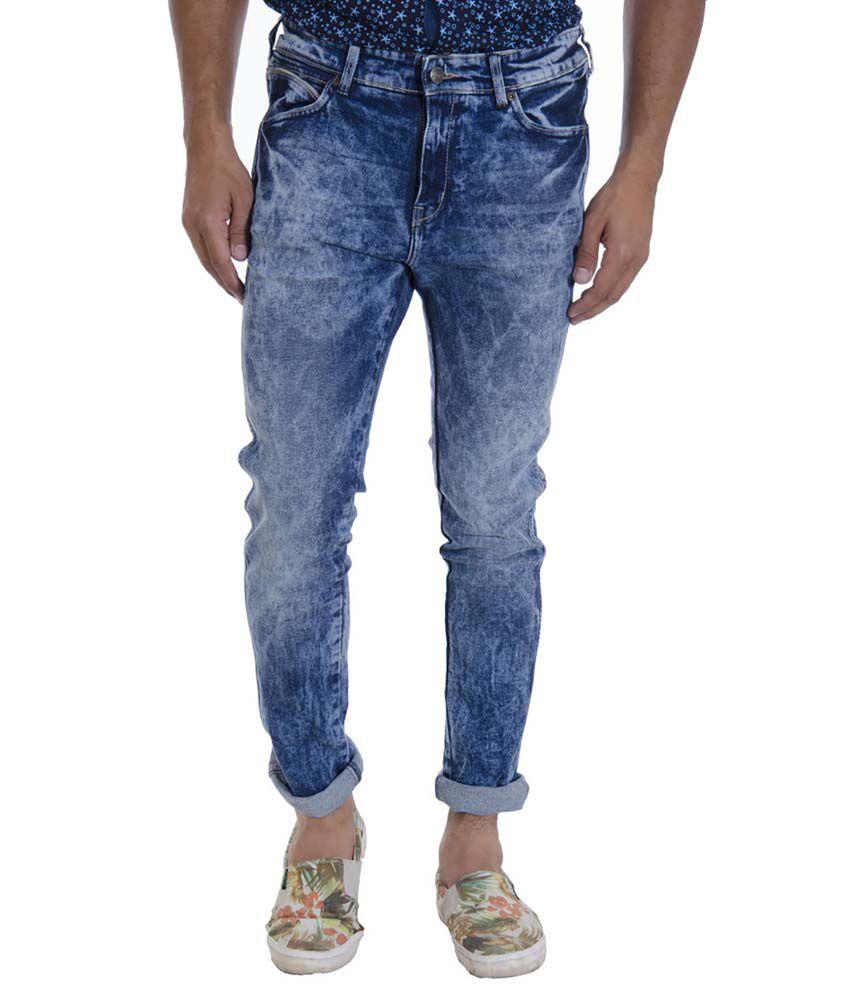 Wrangler Blue Regular Fit Washed Jeans