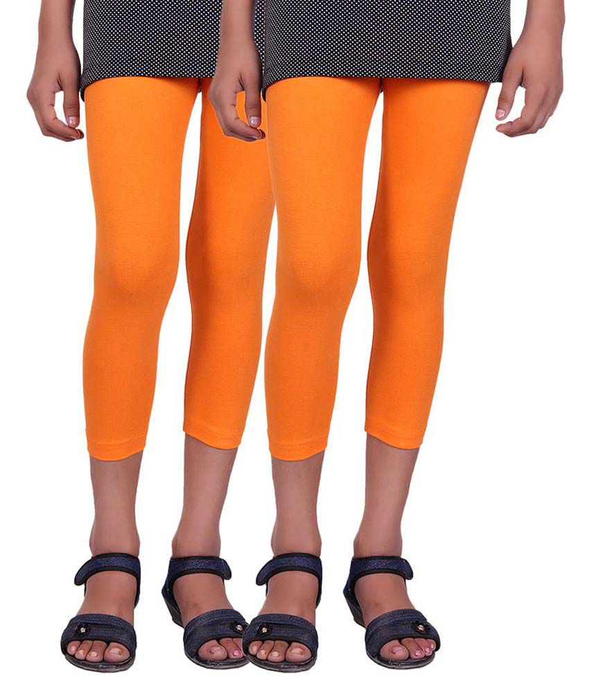 Alisha Orange Cotton Capri