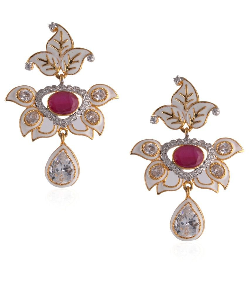 Fasherati Multicolour Brass Drop Earrings