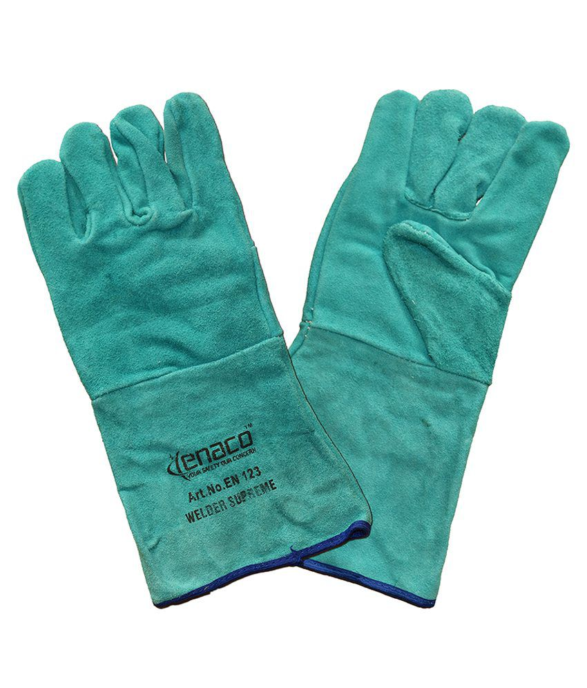 Buy leather hand gloves online india - Enaco Welder Supreme Turquoise Leather Hand Gloves