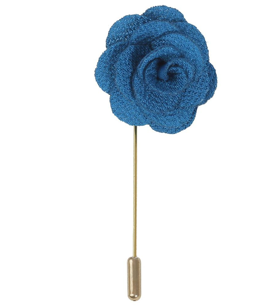 Outdazzle Blue Stainless Steel Handmade Lapel Flower Pin