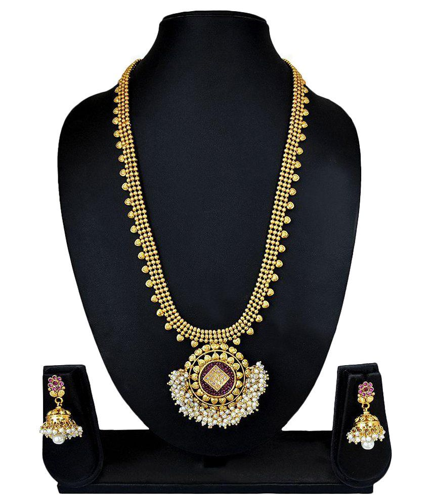 RG Fashions Golden Copper Designer Necklace with Pearl Beadings