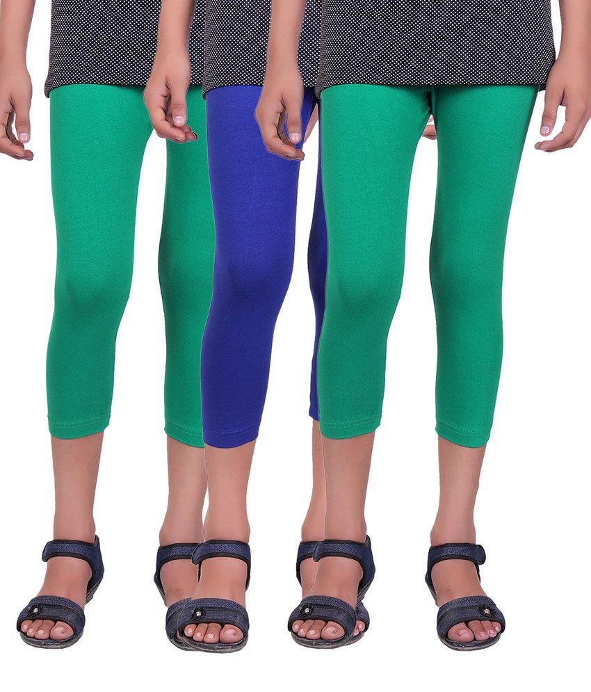 Alisha Multicolour Cotton Lycra Kids Capri - Pack of 3