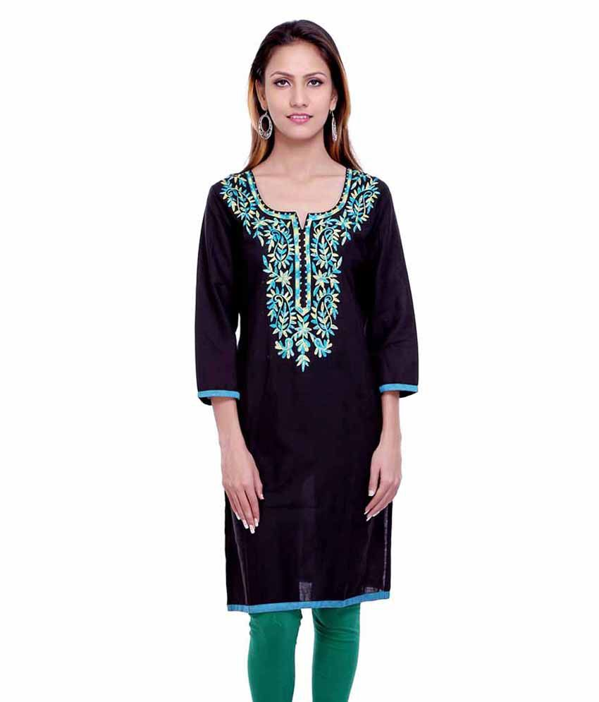 ETHNICLOOK Black Cotton Straight Kurti