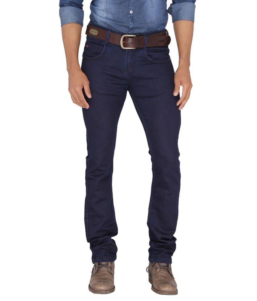 Mode De Base Italie Navy Skinny Fit Solid Jeans