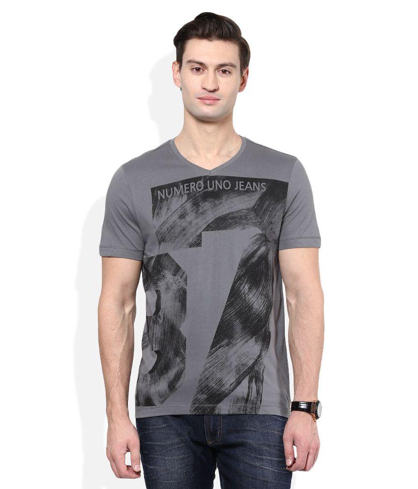 Numero Uno Grey V-Neck T Shirt
