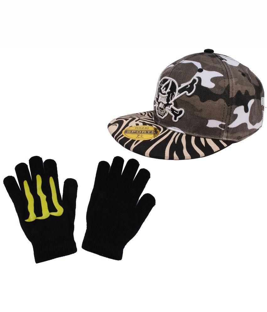 Sushito Multicolor Skull Print Millitary Hip Hop Cap With Hand Gloves
